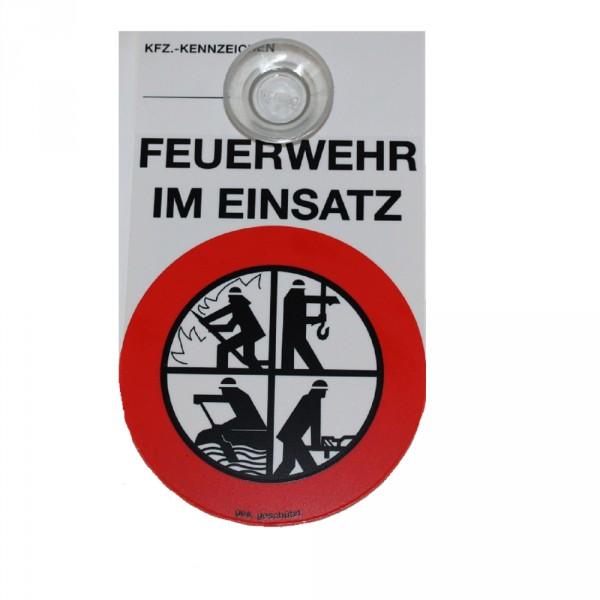 Schild KFZ Feuerwehr im Einsatz